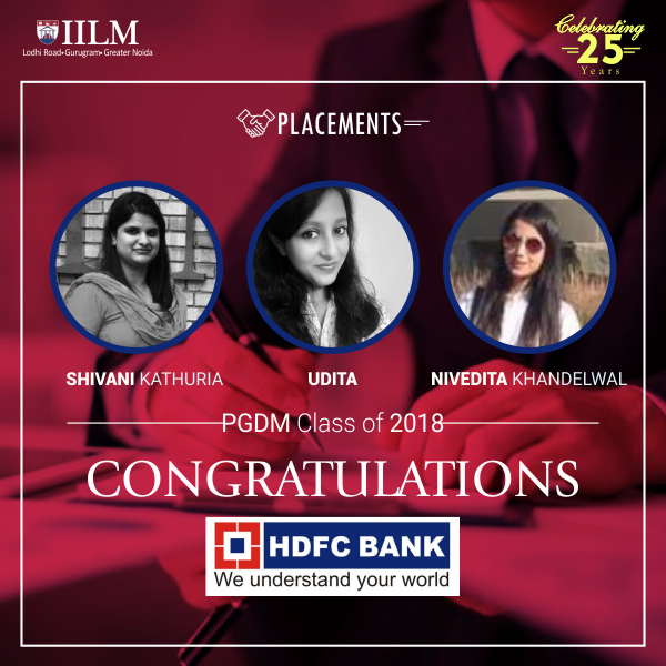 IILM : selected in HDFC Bank