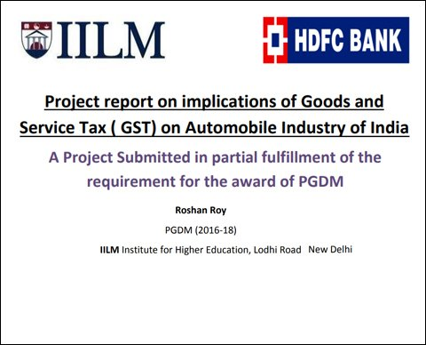 Project Report On Implications Of Goods And Service Tax Gst On
