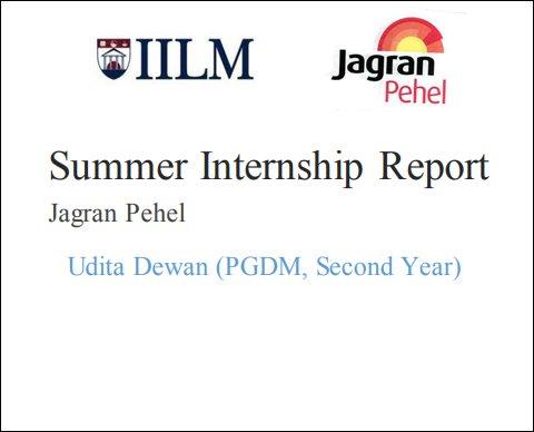 Summer Internship Report On Jagran Pehel